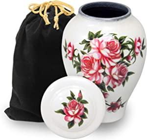 LETUSTO Cremation Urn for Human Ashes for Adults, Funeral Burial Urns with Velvet Bag for Easy Preservation and Portability [Roses]