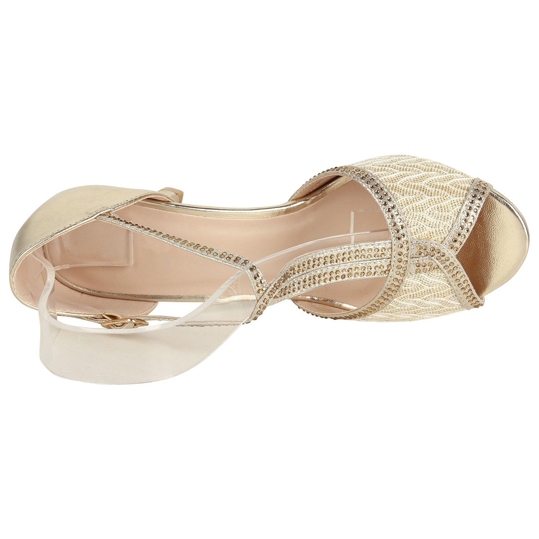 Stiefelparadies Damen Riemchensandaletten mit Pfennigabsatz Spitze Strass Metallic Flandell Gold Spitze Pfennigabsatz 9acc77