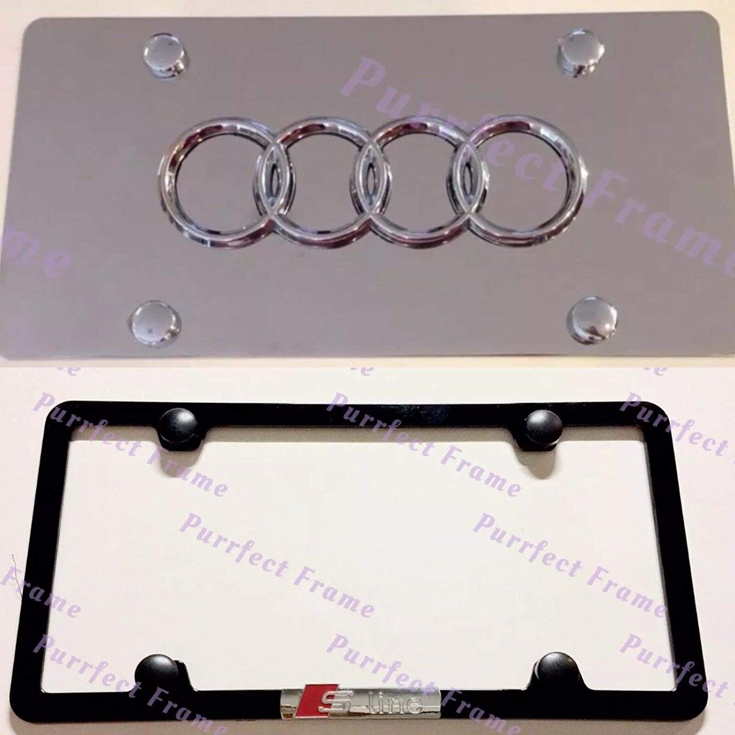 Audi S Line Stainless Black Front License Plate /& Frame Combo Rust Free