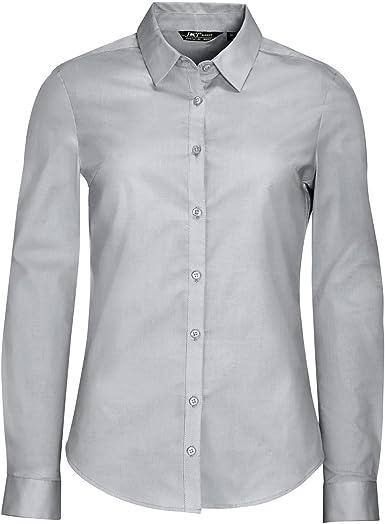 SOLS Camisa de Popelín y Manga Larga Modelo Blake Para Mujer (M/Gris Perla): Amazon.es: Ropa y accesorios