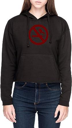 Marceline No De Fumar Camisa Mujer Sudadera con Capucha de Crop Negro Womens Crop Hoodie Sweatshirt Black: Amazon.es: Ropa y accesorios