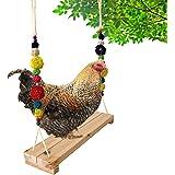Vehomy Chicken Swing Chicken Perch Chicken Wood Stand Chicken Toy for Hens Handmade Chicken Swing Stand Toy for Large Bird Pa