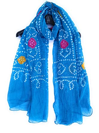 5eaf4a9cc8 Rajasthani, Jodhpuri Hand Crafted Cotton Bandhej/Bandhani  Ladies/Girls/Woman Dupatta- Sky Blue with Multi Color Balls: Amazon.in:  Clothing & Accessories