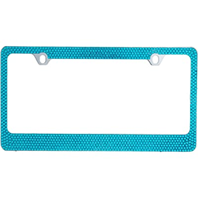 BLVD-LPF OBEY YOUR LUXURY Popular Bling 7 Row Blue Color Crystal Metal Chrome License Plate Frame with Crystal Screw Caps - 1 Frame: Automotive