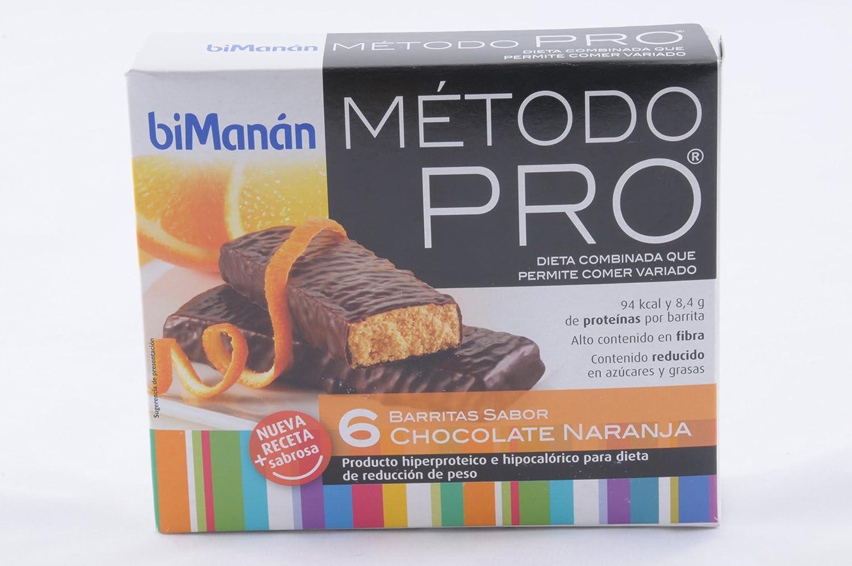 Bimanán Método Pro, Barritas con Sabor de Chocolate y Naranja, 6 Unidades