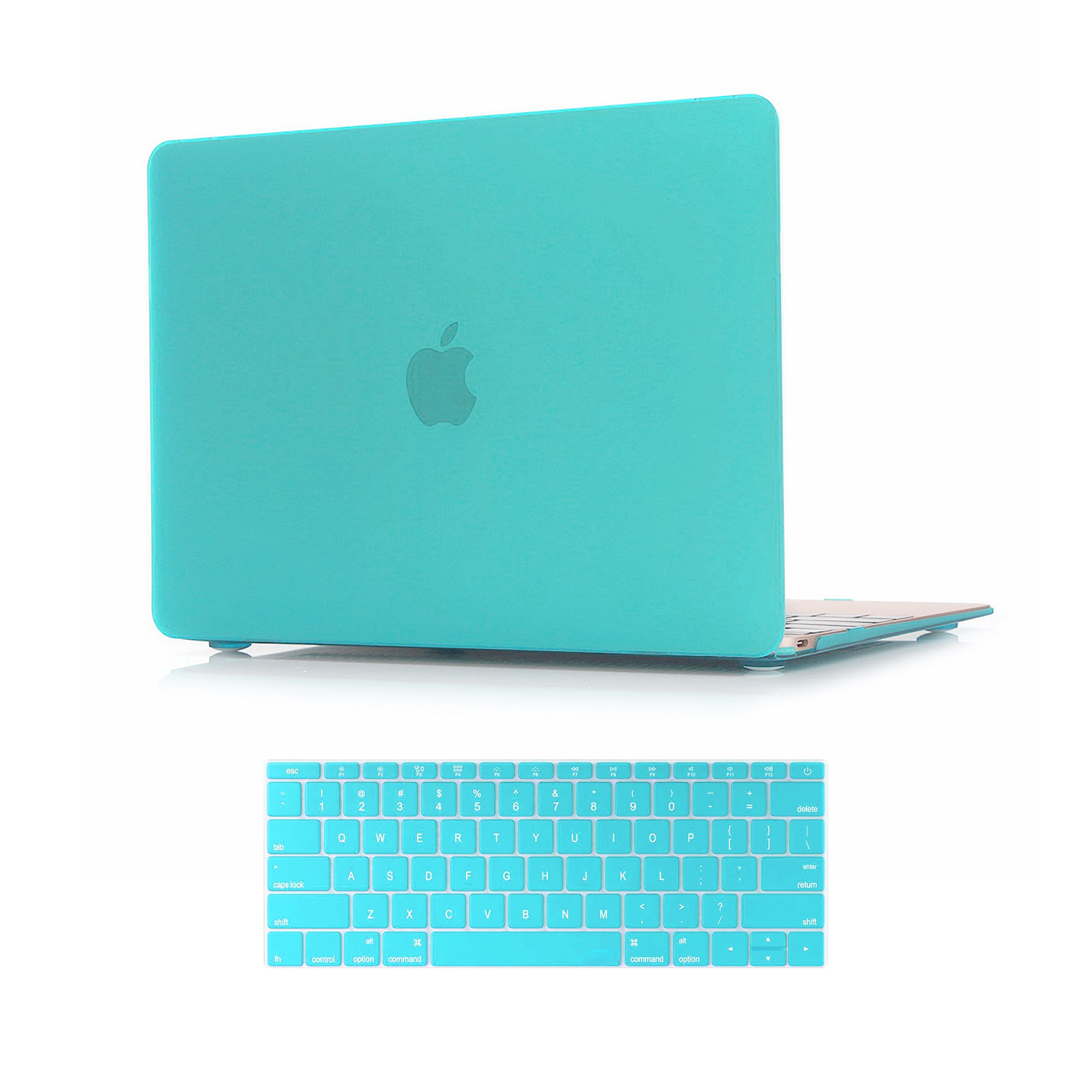 Versality VMBCN12TBM Hard Case Cover for The New MacBook and Matching Keyboard Cover in Turquoise Matte, Blue