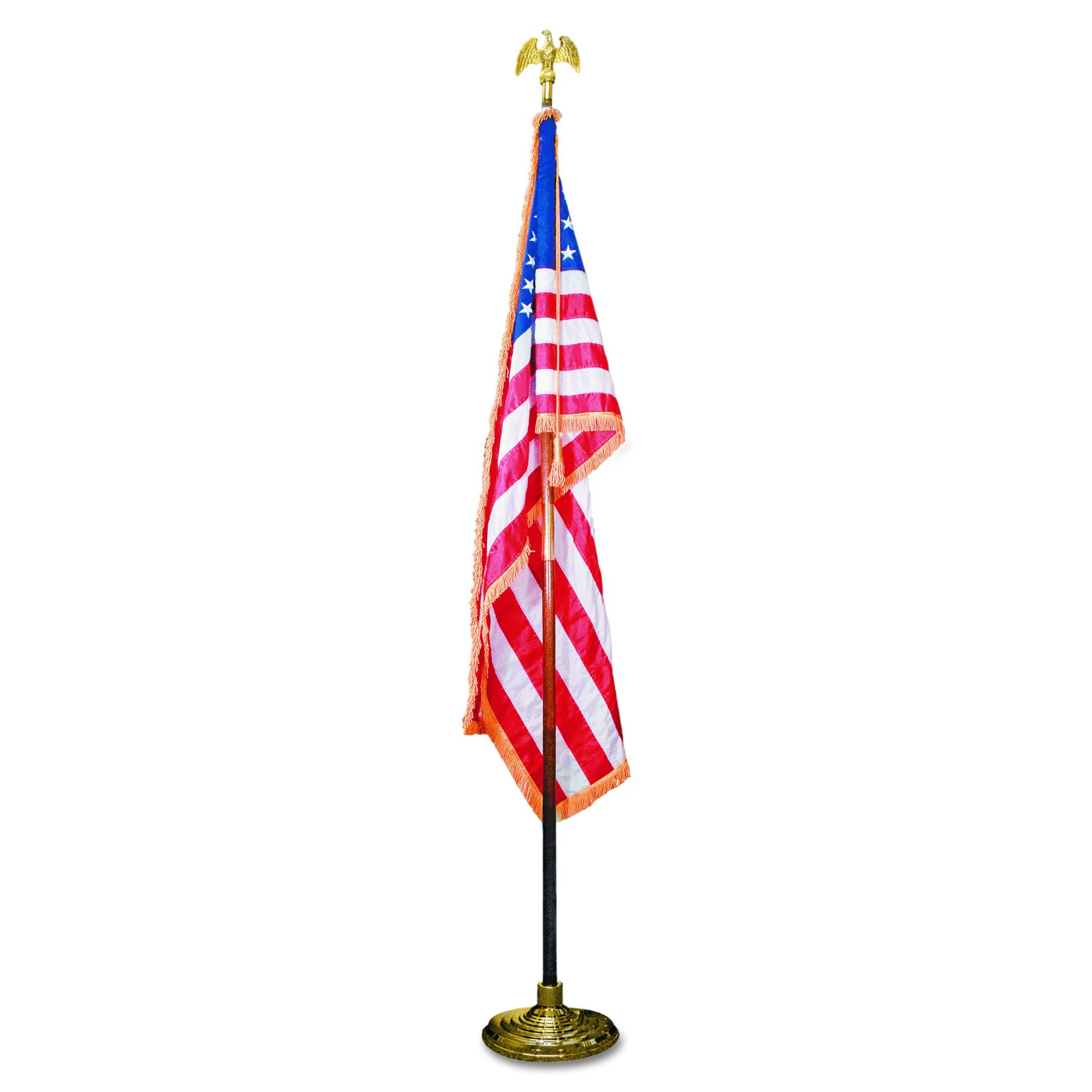 Advantus MBE031400 Deluxe 3 ft x 5 ft U.S. Flag, 8 ft Oak Staff, 2'' Gold Fringe, 7'' Goldtone Eagle