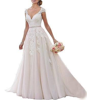 Alanre A Line Scallop Neck Lace Transparent Back Princess Wedding