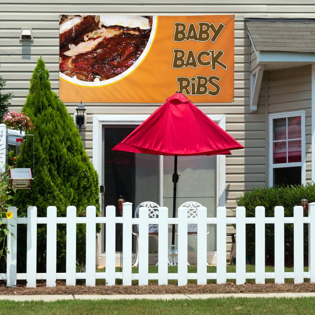 8 Grommets Multiple Sizes Available Vinyl Banner Sign Baby Back Ribs #1 Style A Outdoor Marketing Advertising Orange One Banner 44inx110in