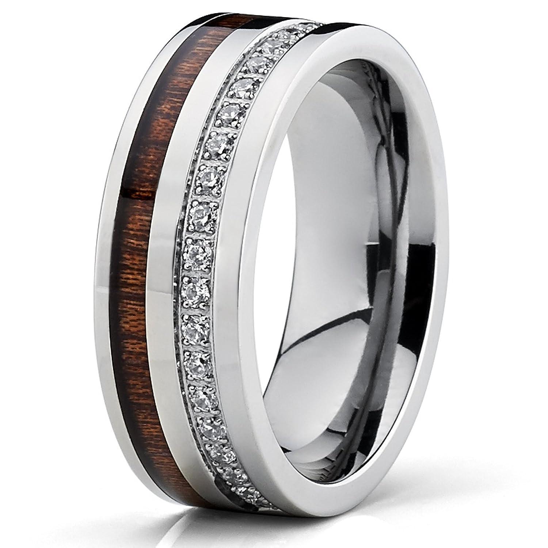 Amazon Titanium Men s Wedding Band Ring With Real Koa Wood