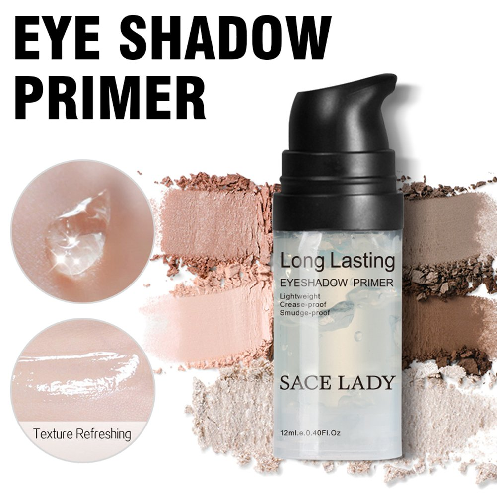 Eyeshadow Primer Base, Long Lasting Waterproof Eyelid Primer for Eye Makeup Gel, Oil Control and Smooth,Smudge-proof Non Crease (Size:0.4 Fluid Ounce, Color: Transparent) by SACE LADY (Image #4)