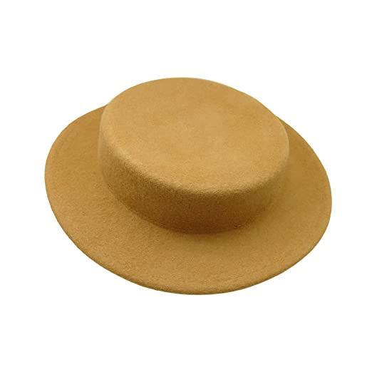 a09584612a0 HATsanity Women s Trendy Wool Felt Mini Boater Hat Style Fascinator Beige