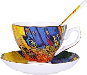Vincent Willem Van Gogh Bone China Tea Cup and Saucer Set With Gift Box,