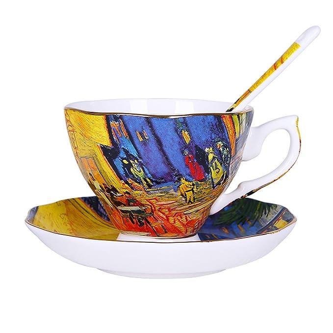 "Vincent Van Gogh Bone China Tea Cup And Saucer Set With Gift Box, ""The Café Terrace"" Art Coffee Mugs Set by Yosou Home"
