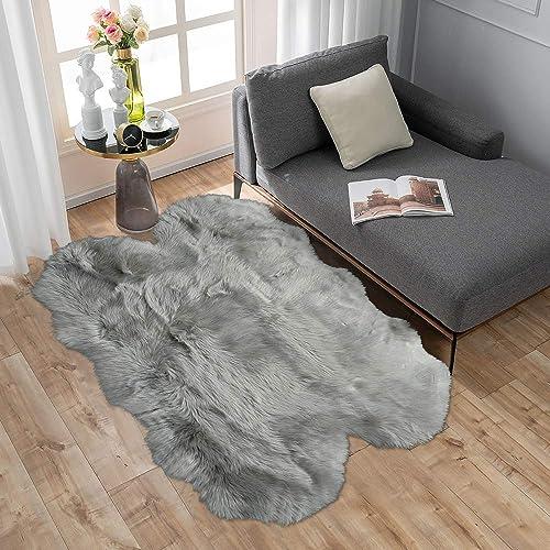 Carvapet Soft Fluffy Faux Sheepskin Fur Area Rug for Bedroom Floor Sofa Living Room 3 x 5 Feet,Grey