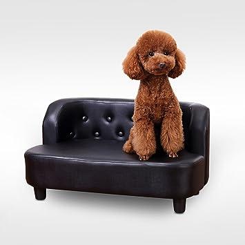 Pawhut interior sofá, silla y gato de mascota Perro Gato muebles suave sofá cama de piel sintética Retro plazas botones diseño negro: Amazon.es: Productos ...