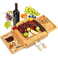 Bamboo Cheese Board Set with Knife Set -KALIPSTA Bamboo Charcuterie boards and Cheese Servers with 2 Slide-Out Drawers…