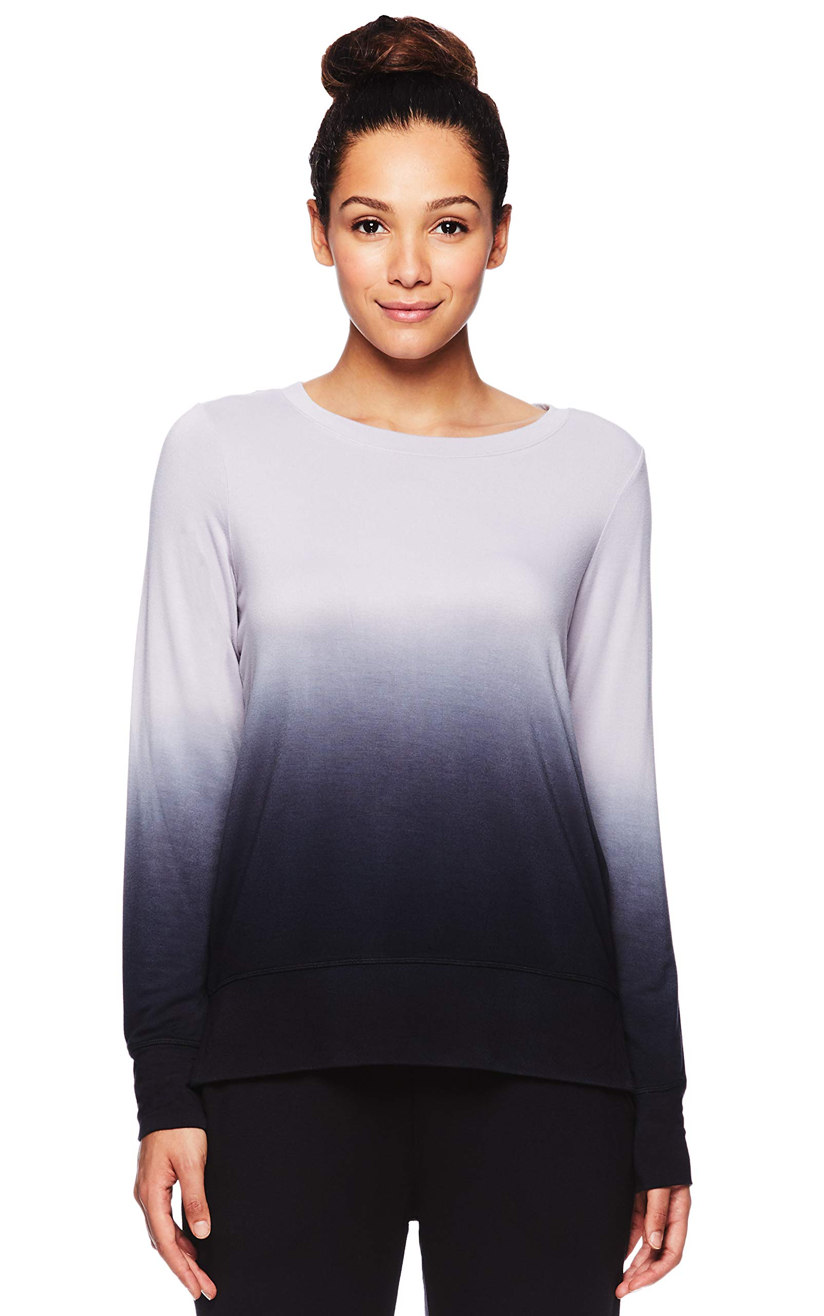 Gaiam Women's Dip Dye Pullover Sweatshirt - Lightweight Long Sleeve Yoga Sweater - Raindrops, Small by Gaiam