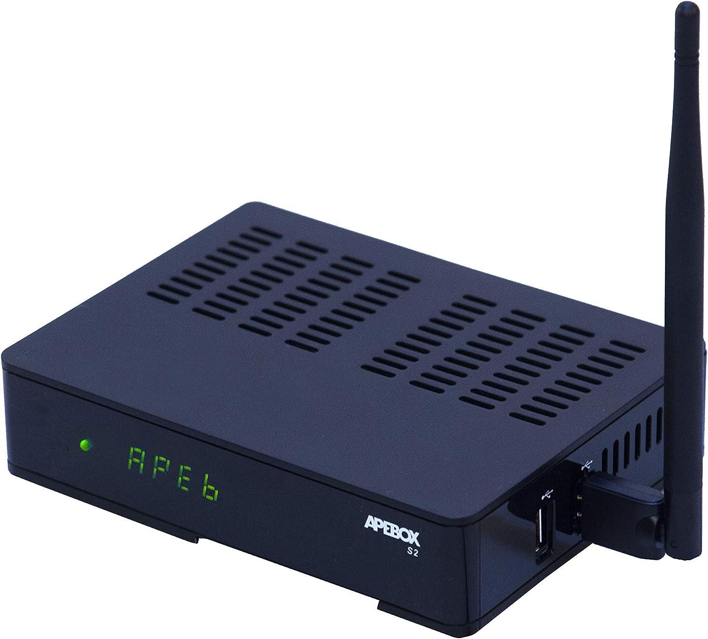 Apebox S2 WiFi- Receptor satélite Multistream H.265 Full HD (1080p, 1x DVB-S2, 2X USB 2.0, HDMI, LAN y Antena WiFi USB, Lector de Tarjetas CA, LED ...