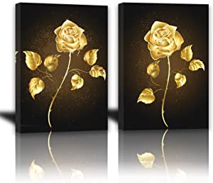 Golden Yellow Flowers Canvas Wall Art for Bedroom Bathroom Living Room Wall Decoration 12x16inch 2 Panels Framed Brass Color Rose Wall Decor for Home Kitchen Wall Black Gold Floral Prints Pictures