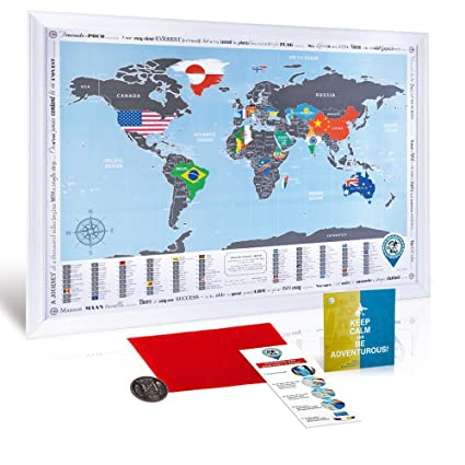 Amazon framed scratch off world map flags edition premium framed scratch off world map flags edition premium quality travel map with white wooden frame gumiabroncs Gallery