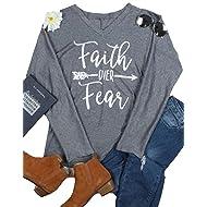 Women's Letters Printed T Shirt Short Sleeves Faith Over Fear Arrow Tee Tops