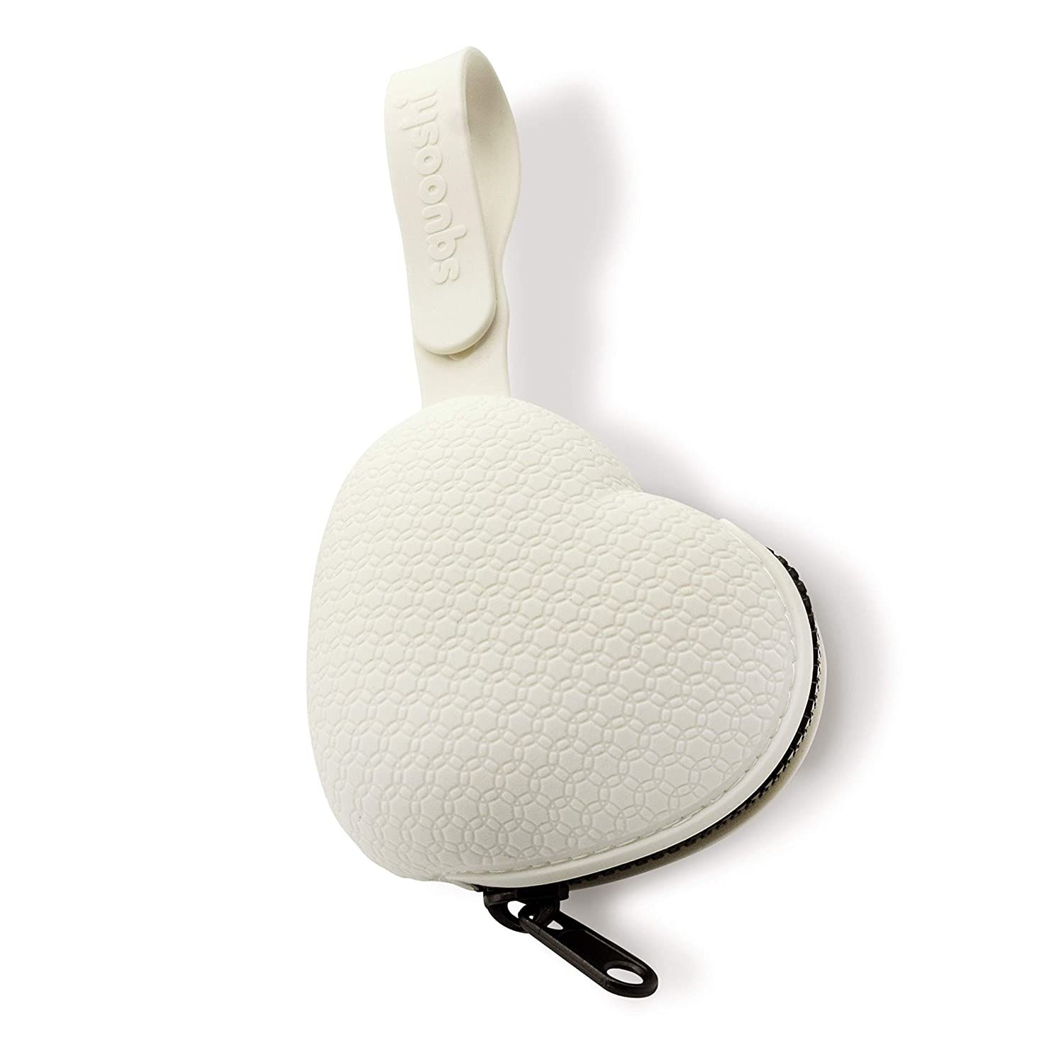 Squooshi Heart Pacifier Holder Case | BPA Free Silicone | Attaches to Strollers & Diaper Bags