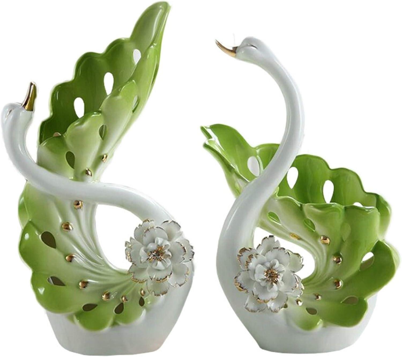 NEWQZ Elegant Swan Shaped Porcelain Vases for Home Decor, Ceramic Vases Set for Living Room Decoration, Wedding Gift