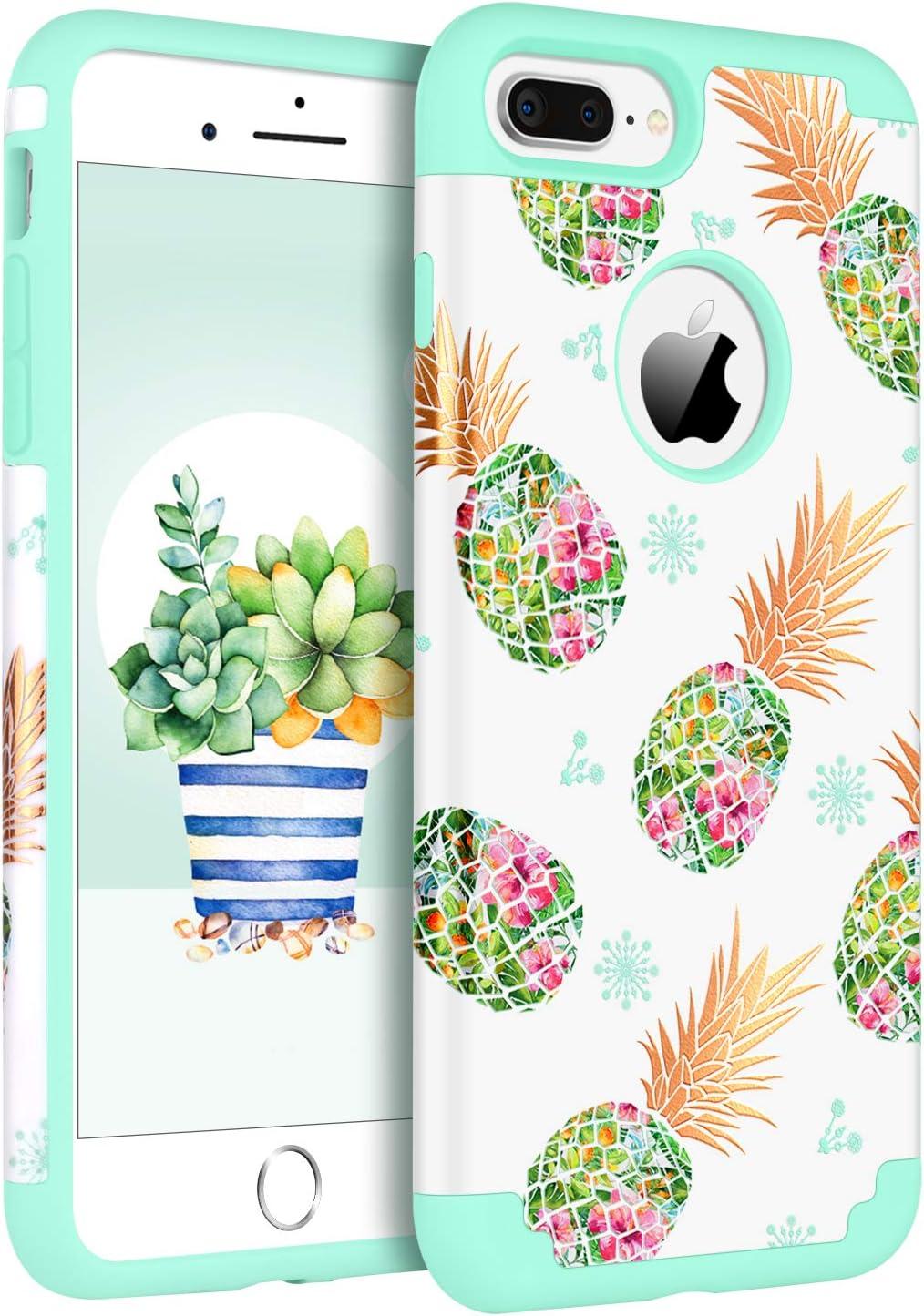 BENTOBEN iPhone 8 Plus Case,iPhone 7 Plus Case,White/Green