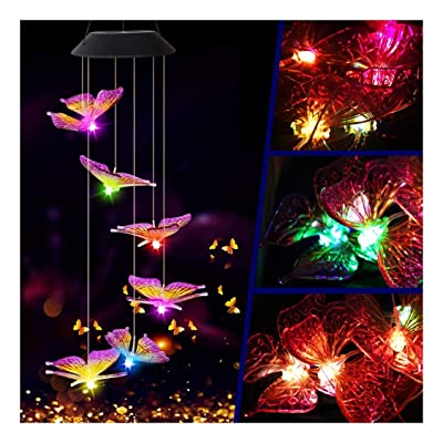 Chezaa Solar Lights Led Wind Chime Transparent Solar Powered Butterfly Wind Chime Color Changing Outdoor Nightlight for Pathway Camping Garden Landscape Yard Decorative (White) : Sports & Outdoors
