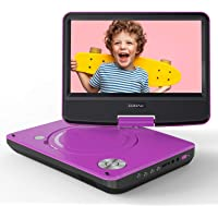 """COOAU 11"""" Portable DVD Player, Support Power Bank Charging, Last Memory Function, Region Free, SD/USB/AV-Out Port with 9"""" HD Swivel Screen, Purple"""