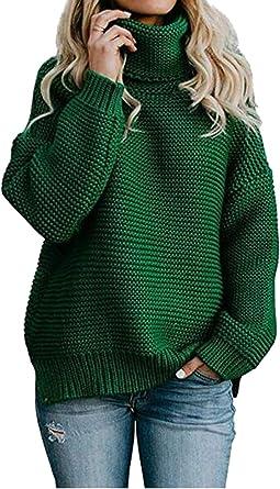 TALLA XL. Cayuan Mujeres Suelto Suéter Jerséis de Cuello Alto Manga Largo Cálido Prendas de Punto Pullover Jerseys Tops Otoño Invierno