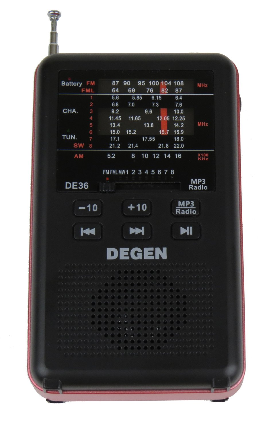 Degen DE36 Rechargeable AM FM Shortwave Radio & MP3 Player with Built-in Micro SD TF Card Reader
