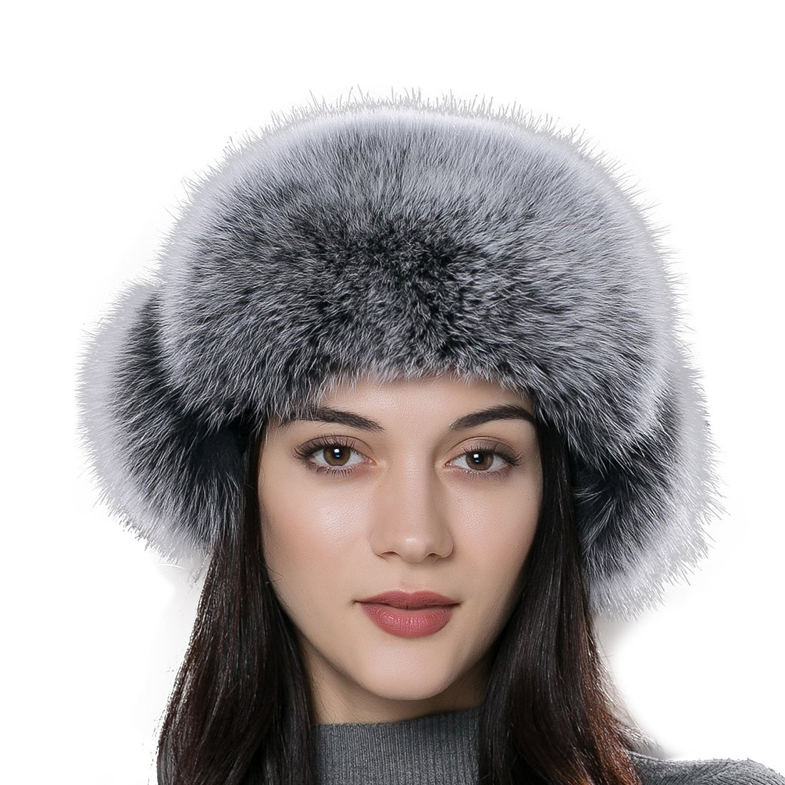 URSFUR Women Russian Rex Rabbit Fur Trapper Hat with Fox Fur Trim Multicolor .Ltd. B01MEC8AG7
