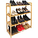 Woodluv 4-Tier Criss Cross Tidy Shelf Organiser/Shoe Rack Stand, Natural Bamboo