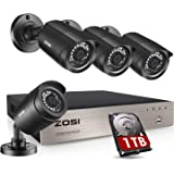 ZOSI Security Cameras System 8Channel 4-in-1 5MP Lite CCTV DVR Recorder with 1TB Hard Drive and (4) x1080P 1920TVL HD Weather