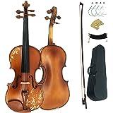 handmade Premium Violin 4/4 Full Size Solid Wood Violin For Beginner Violinist/Professional Student Violin Kit String,Shoulder Rest,Rosin,Bridge(DH003-2)