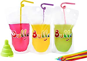 Bubbz 100 pcs reusable smoothie juice drink pouch clear bag with straws and funnel. Zip top sealable, refillable, collapsable with gusset. Food and drink. Hot and cold.