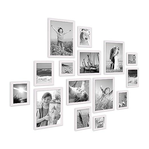Amazon.de: PHOTOLINI 15er Set Landhaus Bilderrahmen Weiss Massivholz Größen  10x10 10x15 13x18 20x20