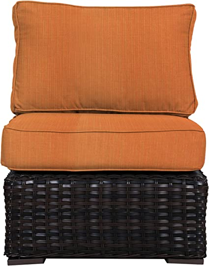 Amazon Com Envelor Santa Monica Outdoor Patio Furniture Wicker Rattan Middle Of Sectional Includes Tangerine Sunbrella Cushions Garden Outdoor