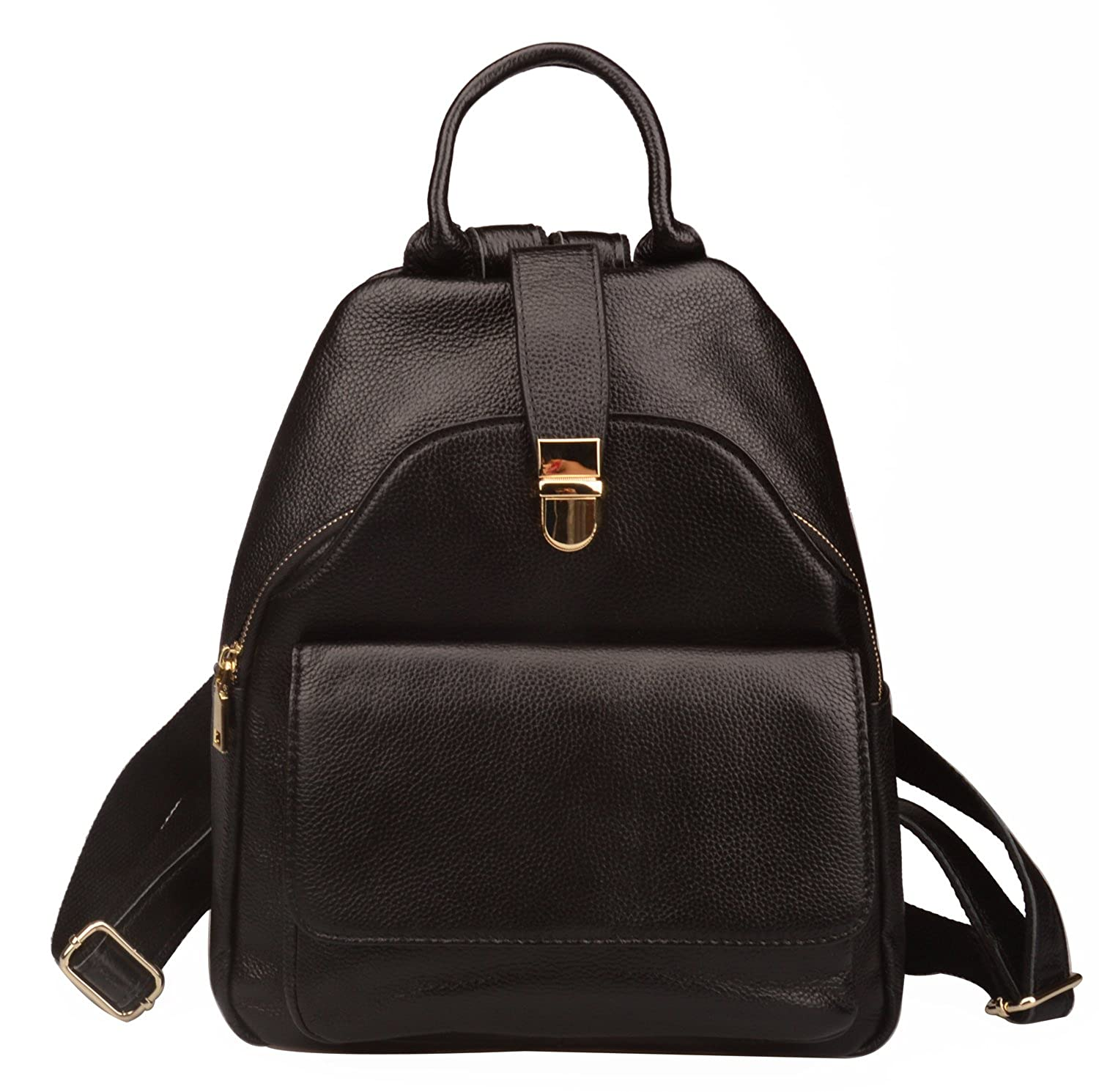 dcc3e76df587 Amazon.com  Fiswiss Women s Genuine Leather Everyday Backpack Handbags And  Purses (Black)  Shoes