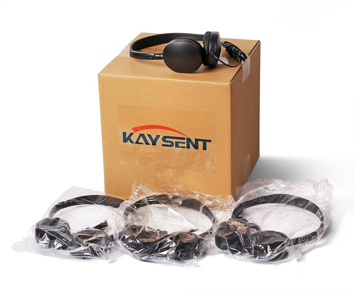 Wholesale Bulk Low Cost Earphone Earbuds Headphones - Kaysent(KHP-50) 50 Pack Wholesale Headphone for School,Airplane,Hospital,Students,Kids and Adults by Kaysent