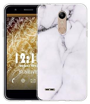Sunrive Funda para LG K11, Silicona Slim Fit Gel Transparente Carcasa Case Bumper de Impactos y Anti-Arañazos Cojín de Aire Espalda Cover(TPU Mármol ...