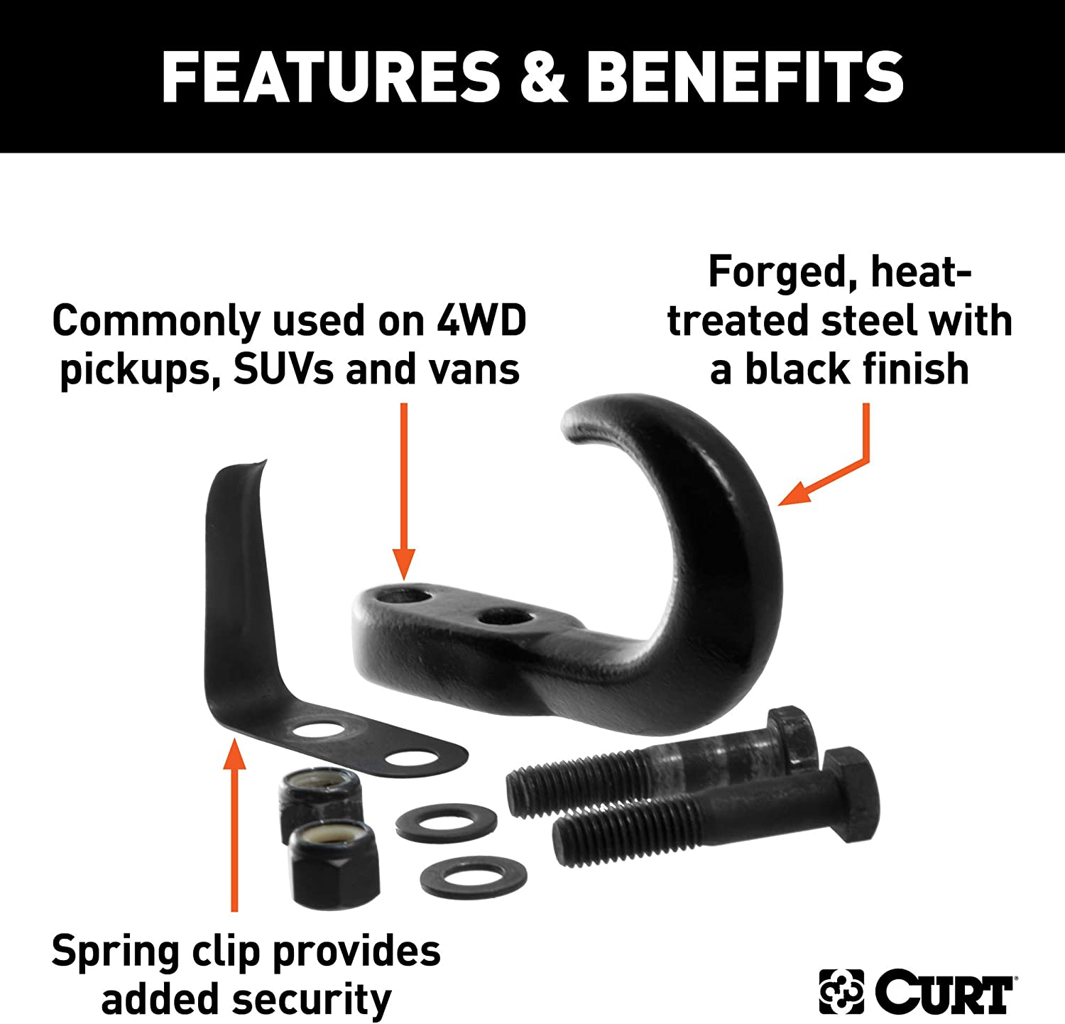 CURT 22411 Tow Hook W//Hardware 10000 Lb Black Packaged