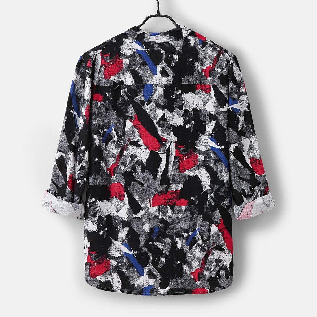 Overdose Camisas Hombre Lino, Blusa Superior Vintage Estampado ...