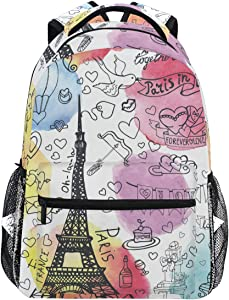 Oarencol French Paris La Tour Eiffel Tower Heart Valentines Day Watercolor Backpacks Bookbags Daypack Travel School College Bag for Womens Girls Mens Boys Teens