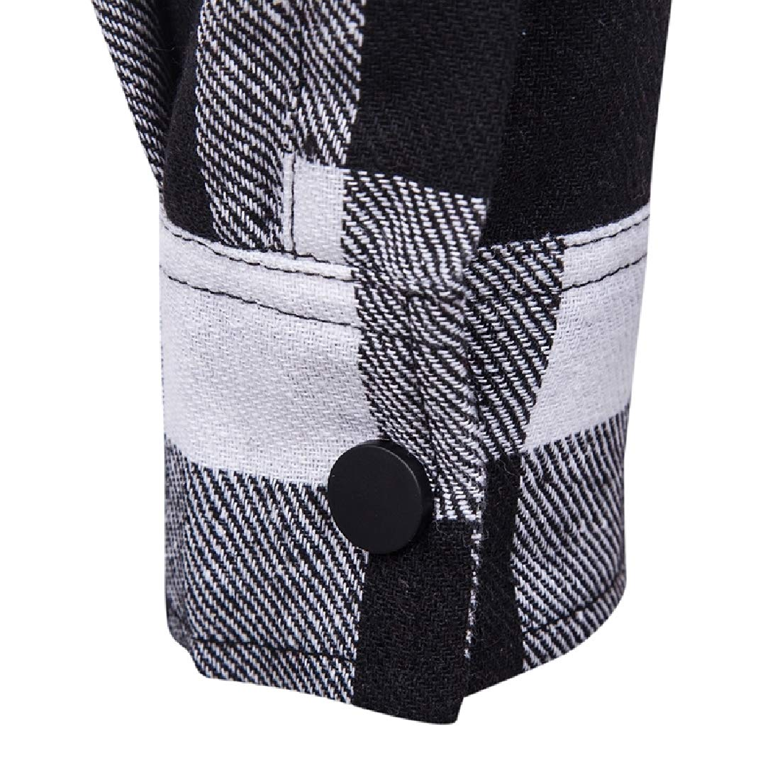 Aooword Mens Hooded Denim Grid Tops Simple Graceful Casual Shirt