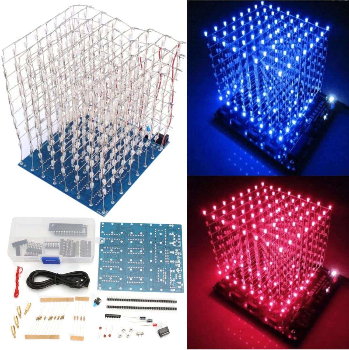 LaDicha 8X8X8 3D Light Blue Cube Kit di Luce Blu Rosso LED Spettro