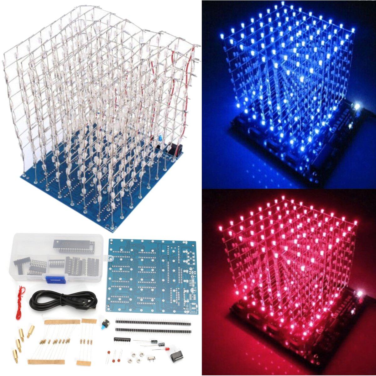 LaDicha DIY Square 8X8X8 3D Lumi/ère /Électronique Cube Kit Bleu Rouge LED Spectrum Conseil