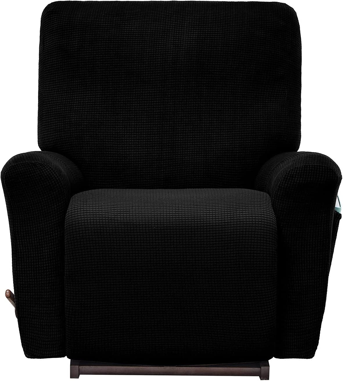 AlGaiety Stretch Recliner Slipcover Sofa Cover 4 Separate Pieces/1 Set Spandex Jacquard Fabric Furniture Protector Couch Cover with Elastic Bottom for Living Room(Recliner,Black)